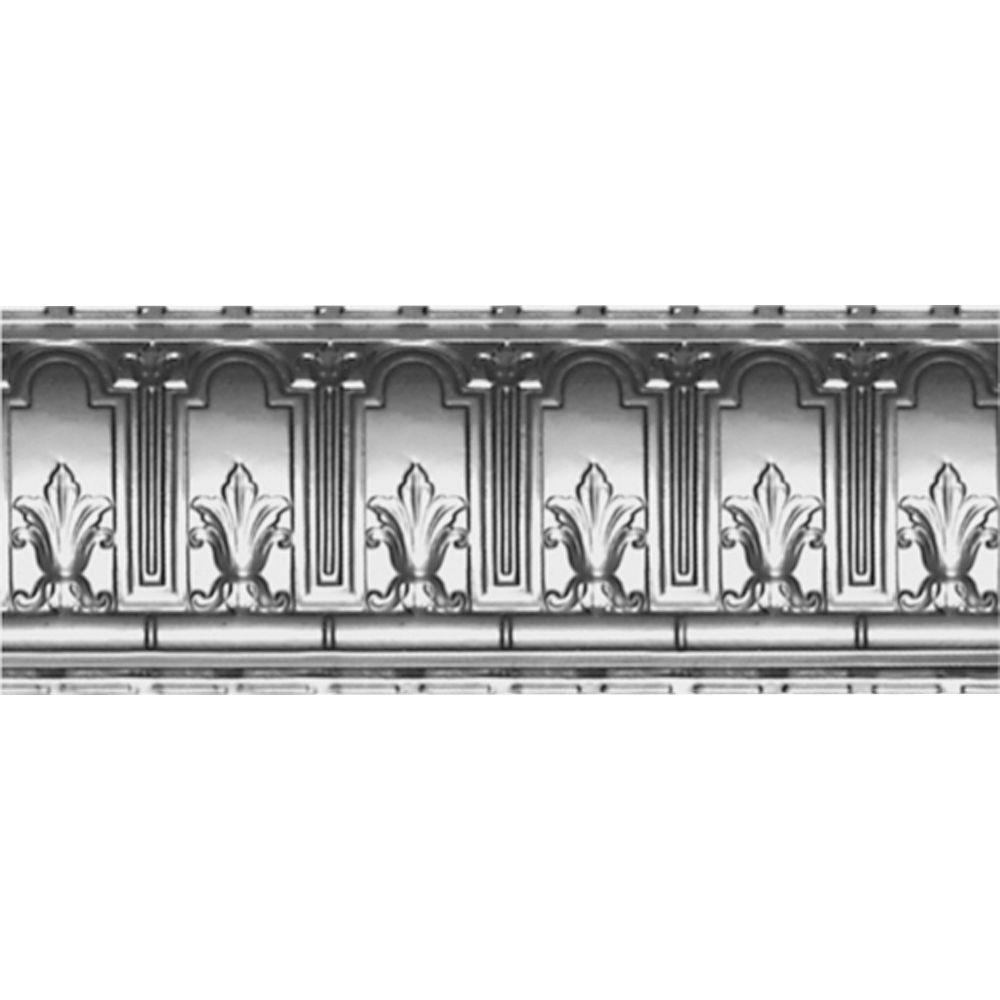 9-1/2 in. x 4 ft. x 9-1/2 in. Bare Steel Nail-up/Direct Application Tin Ceiling Cornice (6-Pack)