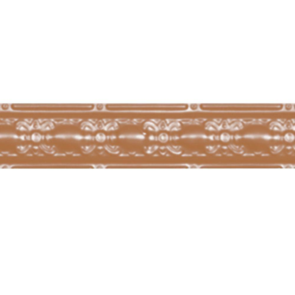 4 in. x 4 ft. Satin Copper Nail-up/Direct Application Tin Ceiling Cornice (6-Pack)