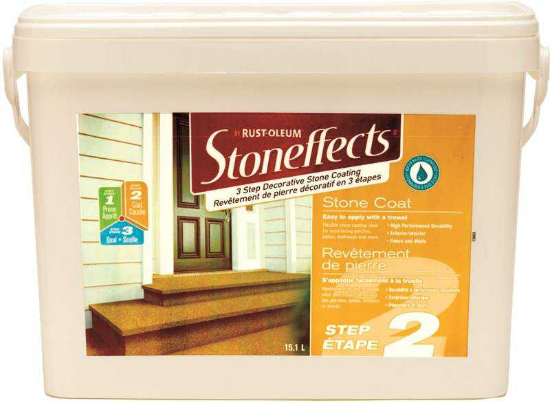 StonEffects Step-2 Water Based Stone Coating, 15.1 l Pail, Trowel Dispenser, Liquid, Champagne, Mild